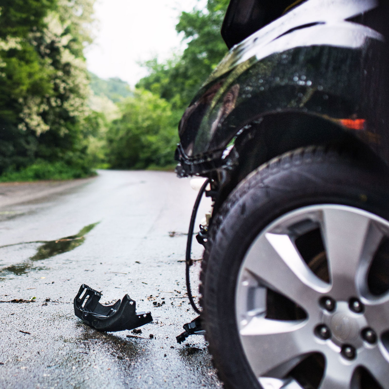The results of an automobile accident.