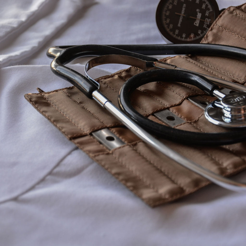 Photo of a blood pressure cuff and stethoscope