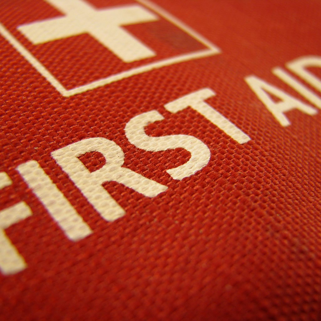 Macro photo of a first aid suitcase